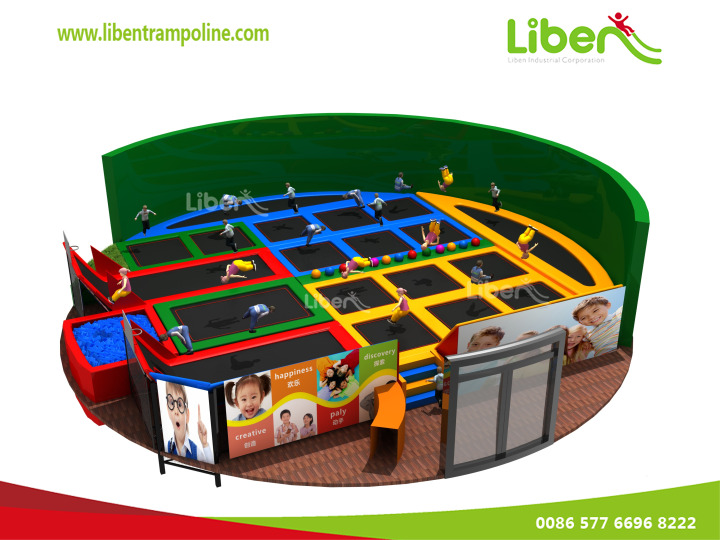 Professional Olympic Gym Kids Indoor Trampoline Location With Dodgeball