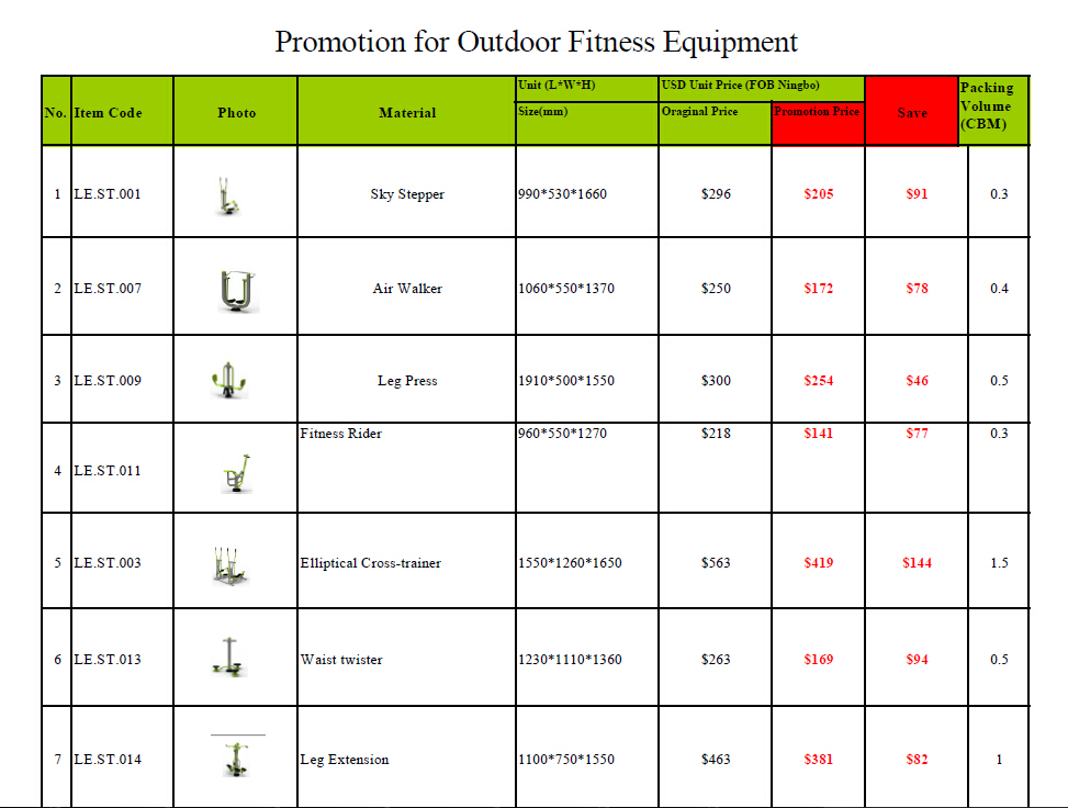 Promotion for outdoor fitness equipment