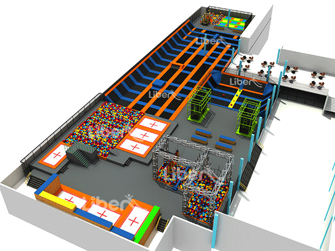 Indoor trampoline park design